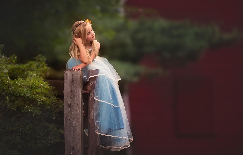 Фото обои настроение, платье, девочка, боке