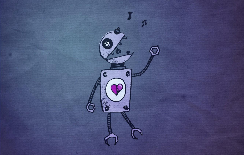 Фото обои сердце, робот, Любовь