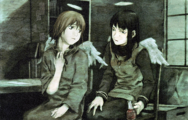 Фото обои комната, книги, крылья, окно, разговор, нимб, reki, две девочки, rakka, haibine renmei, by yoshitoshi abe