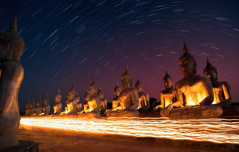 Фото обои небо, звезды, ночь, Тайланд, Thailand, sky, night, stars, South, Star trails, Buddah, AtomicZen, Будды