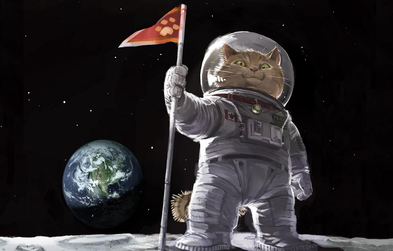 Фото обои кот, космос, картина, флаг, арт, живопись, котяра, painting, земля., скафандре, высадка на луну