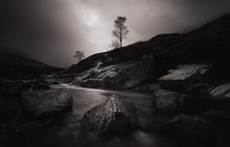Фото обои ночь, река, камни, дерево, Шотландия