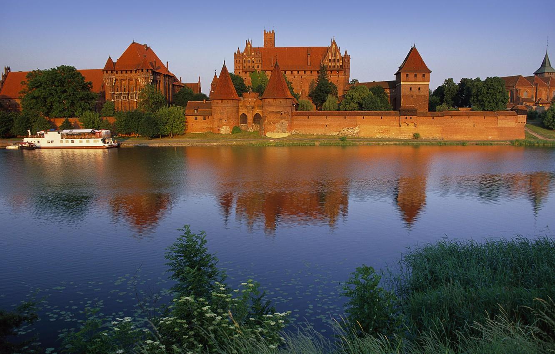 Фото обои Вода, Отражение, Деревья, Замок