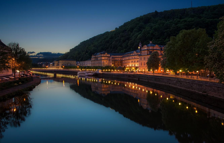Фото обои ночь, огни, река, дома, Германия, фонари, набережная, Bad Ems
