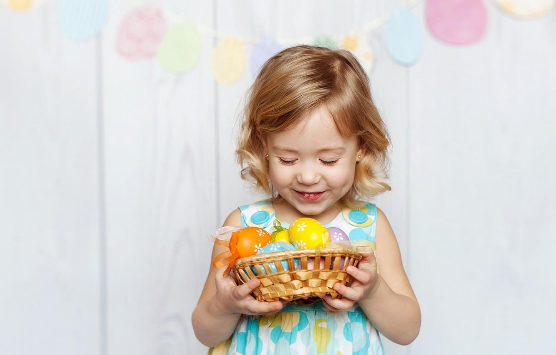 Фото обои радость, ребенок, Пасха, child, Easter, holiday, маленькая девочка, Little girls