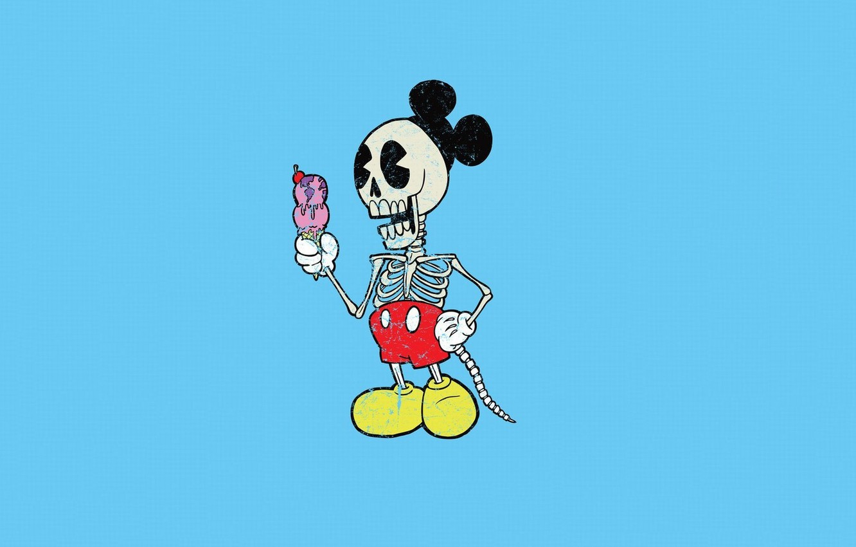 Фото обои Минимализм, Скелет, Микки Маус, Mickey Mouse, Alejandro Giraldo, Мороженое