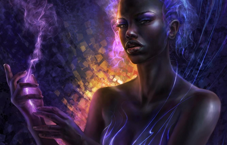 Фото обои девушка, линии, абстракция, дым, арт, ceruleanvii, негритянка, чернокожая