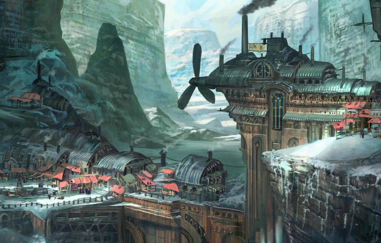 Фото обои зима, снег, горы, город, фантастика, арт