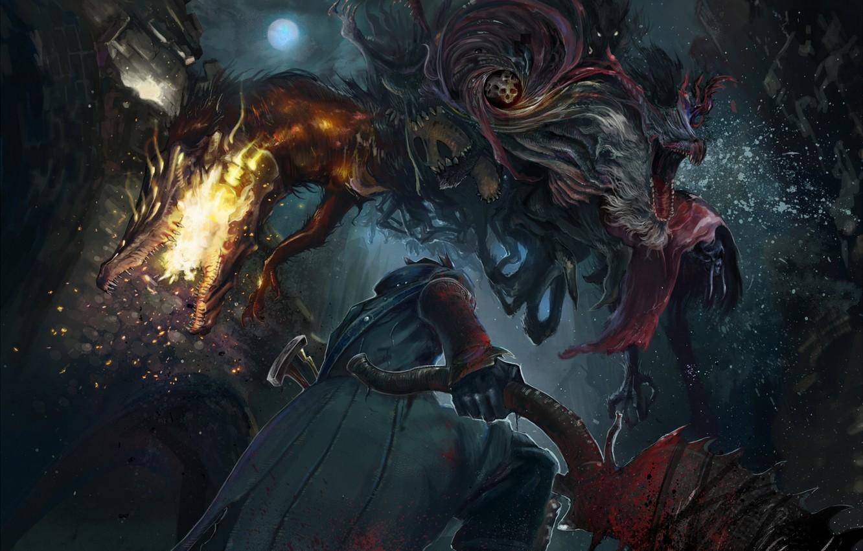 Фото обои оружие, монстр, арт, мужчина, the hunter, bloodborne, shibafu no atama