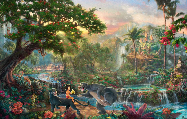 Фото обои цветы, тигр, пальмы, фильм, деревня, пантера, джунгли, домики, обезьяны, водопады, живопись, Walt Disney, Thomas Kinkade, …