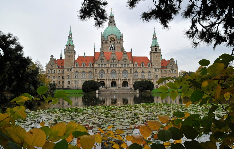 Обои германия, Пейзаж, Новая ратуша, ганновер, пруд. Города foto 6