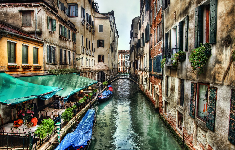 Обои кафе, канал, венеция. Города foto 6