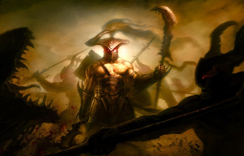 Фото обои оружие, кровь, меч, воин, арт, пасть, монстры, рога, шлем, копье, битва, рана, поле брани, алебарда