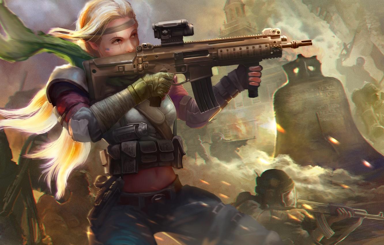 Фото обои девушка, город, война, блондинка, автомат, руины, колокол, Homefront: The Revolution