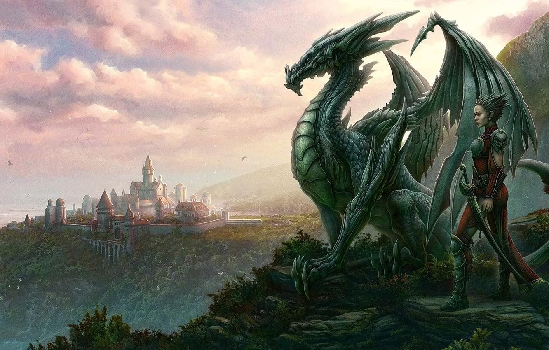 Фото обои взгляд, город, дракон, человек, kerem beyit