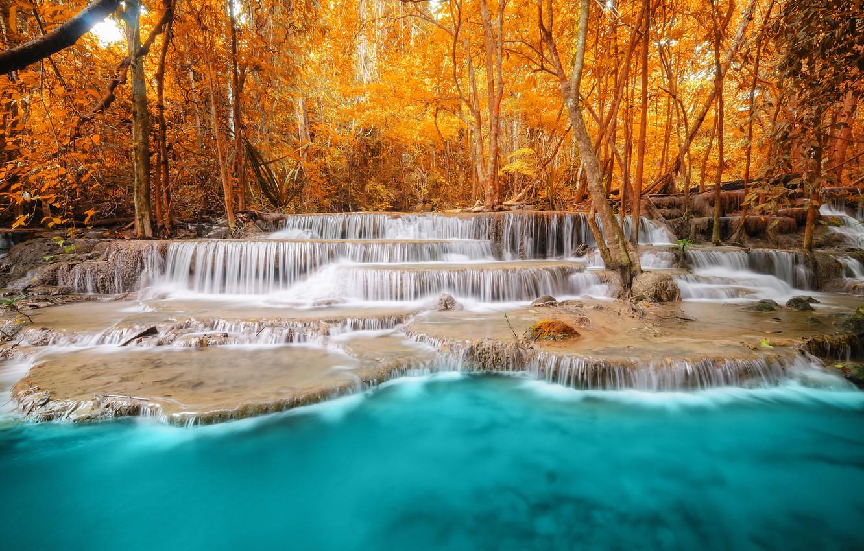 Обои водопад, осень, Пейзаж. Пейзажи foto 15