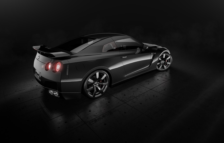 Фото обои Nissan, GT-R, Car, Black, Studio, Back, R35, Sport