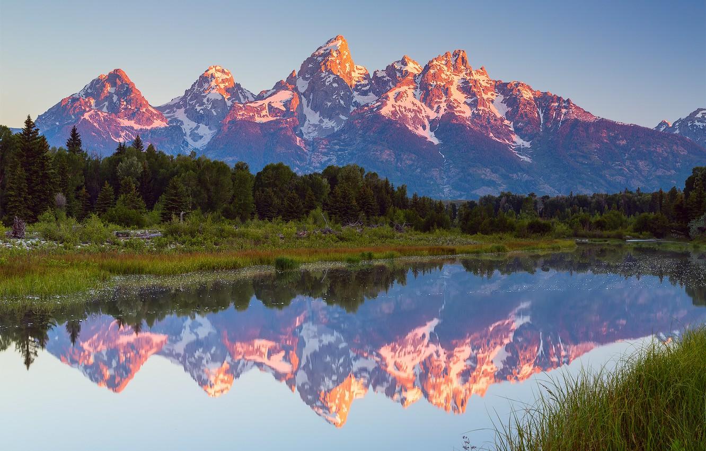 Фото обои лес, лето, небо, вода, облака, отражения, горы, США, штат Вайоминг, Июль, национальный парк Гранд-Титон, Schwabachers …