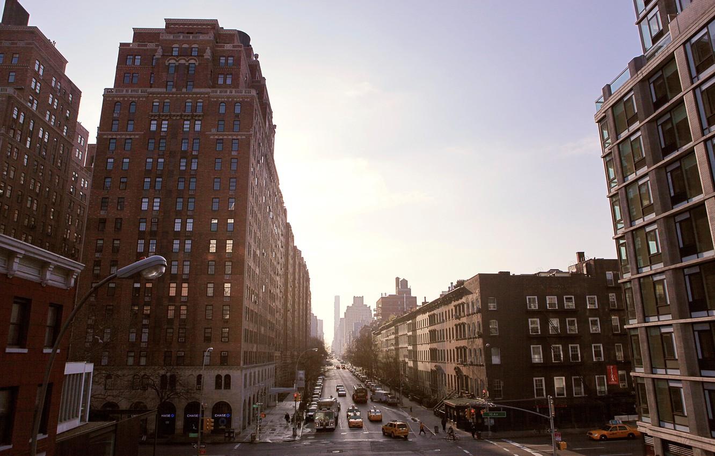 Фото обои USA, United States, Brooklyn, New York, New York City, street, people, taxi, buildings, United States …