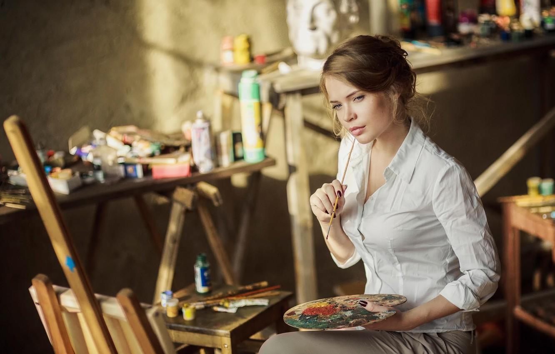 Фото обои краски, художник, творчество, кисть, Ксения Паленова