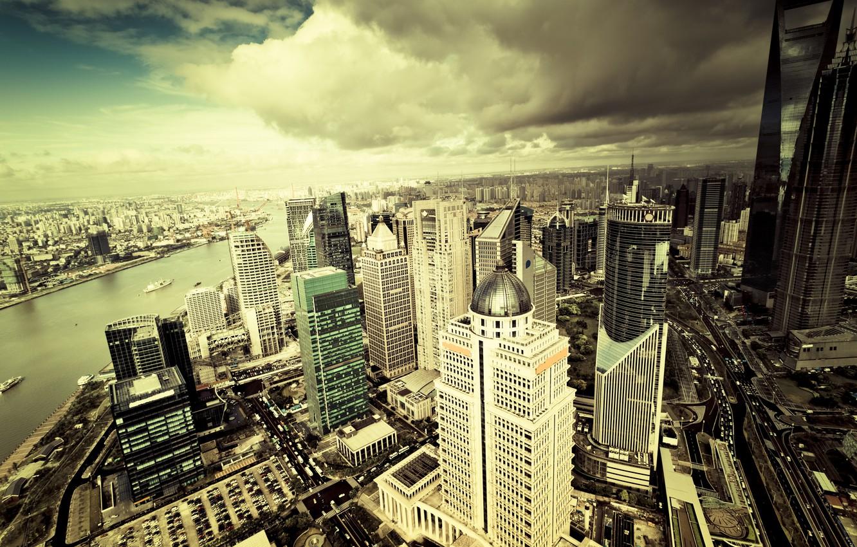 Фото обои небо, облака, city, город, здания, небоскребы, мегаполис