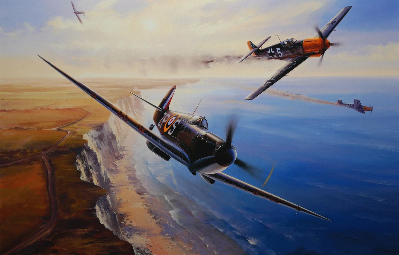 Обои ww2, dogfight, war, spitfire, painting. Авиация foto 15