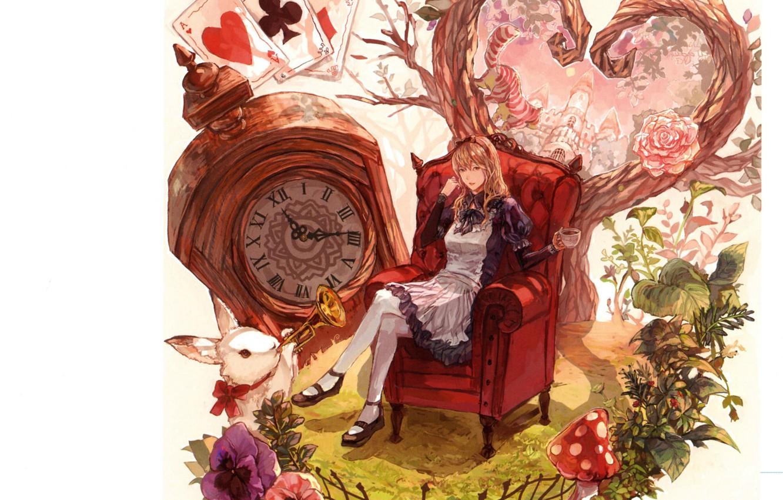 Фото обои карты, кот, листья, часы, кресло, мухомор, кролик, труба, белый фон, фартук, alice in wonderland, маргаритки