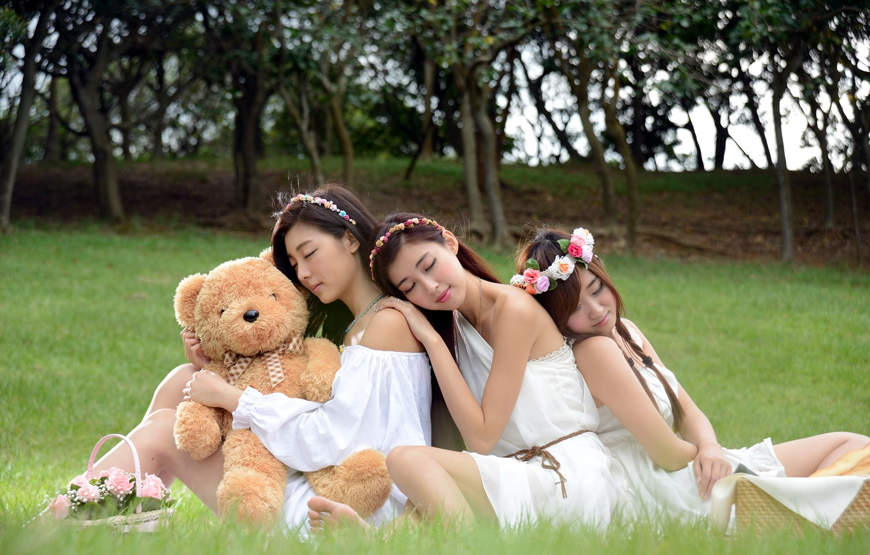 Фото обои девушки, настроение, мишка, азиатки