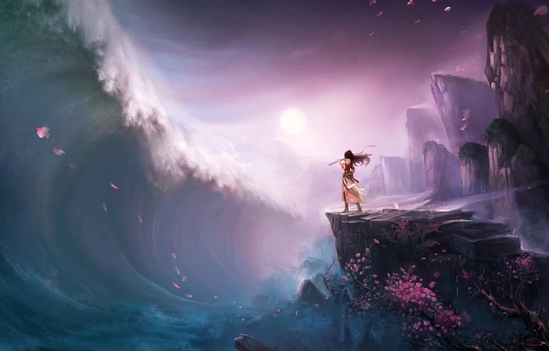 Фото обои девушка, дерево, скалы, волна, лепестки, сакура, цунами, арт, флейта
