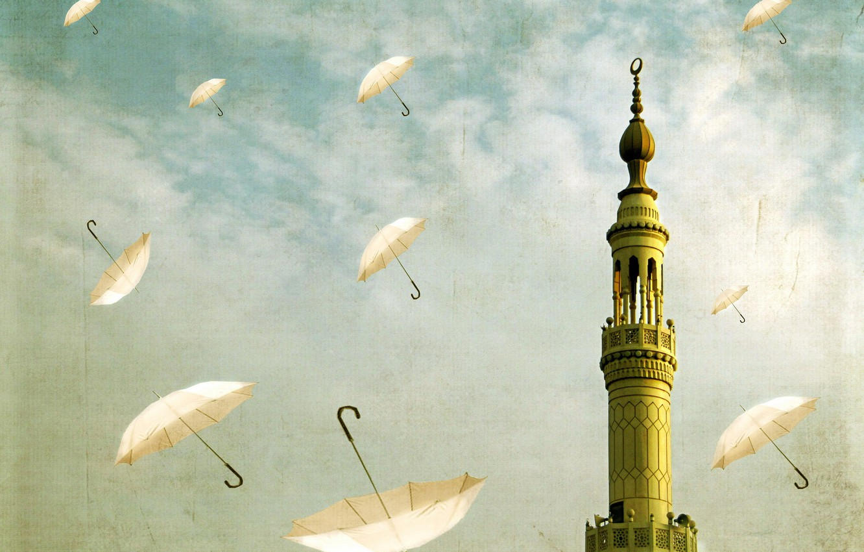 Фото обои небо, стиль, башня, зонты