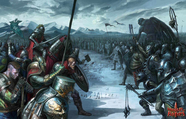 Фото обои снег, оружие, армия, войны, великан, World of Battles