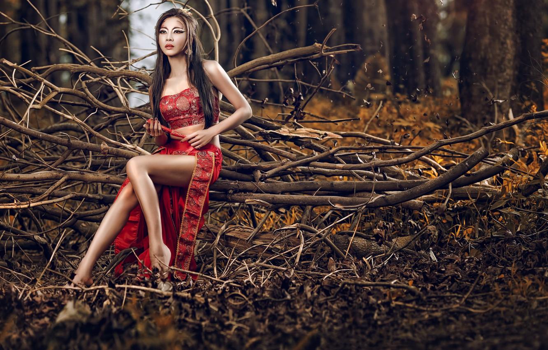 Фото обои девушка, стиль, азиатка