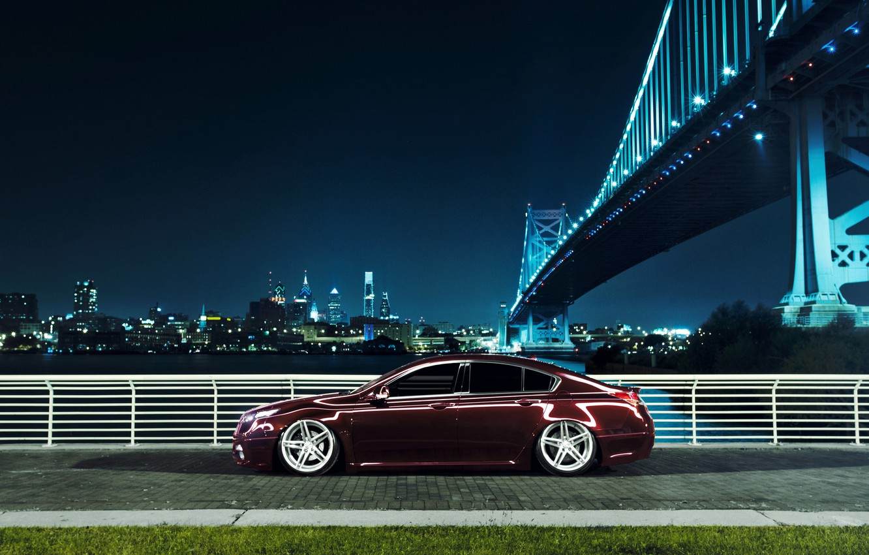 Фото обои ночь, мост, город, черная, профиль, Honda, Accord, хонда, акура, Acura, TSX