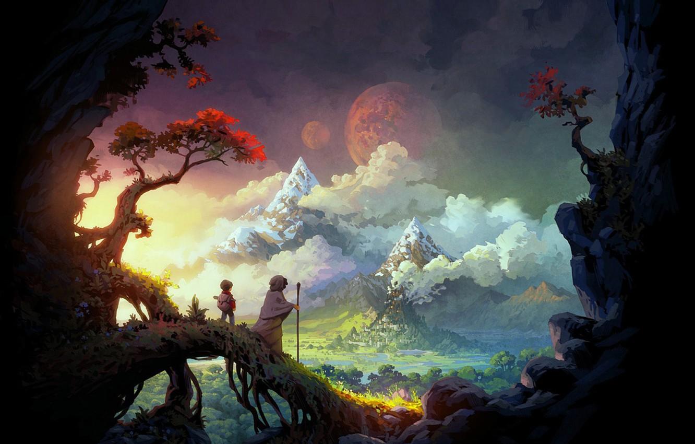 Фото обои пейзаж, горы, замок, луна, аниме, странники, путишествие