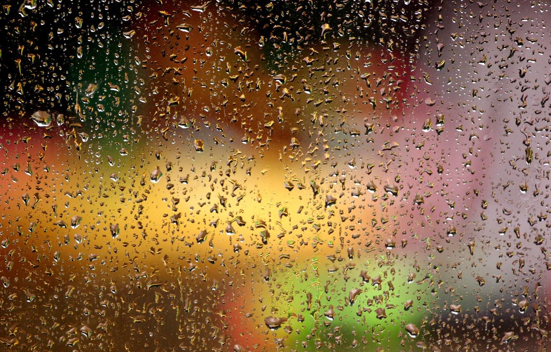 Фото обои стекло, капли, огни, капельки, блики, Дождь