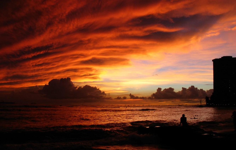 Фото обои море, природа, восход, настроение