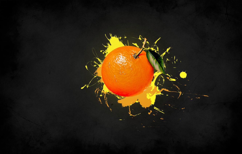 Фото обои желтый, полоска, краска, Апельсин, фрукты
