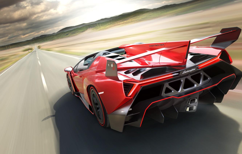 Фото обои Roadster, Lamborghini, Скорость, Зад, Speed, Суперкар, Supercar, Veneno