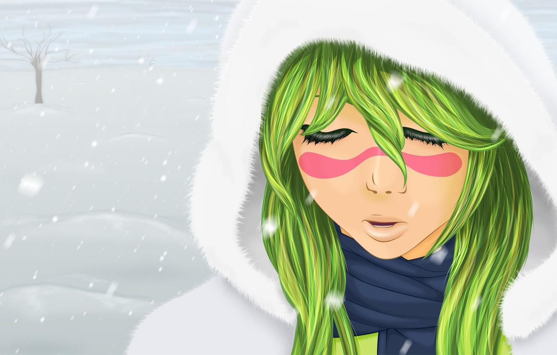 Фото обои зима, девушка, снег, настроение, Bleach