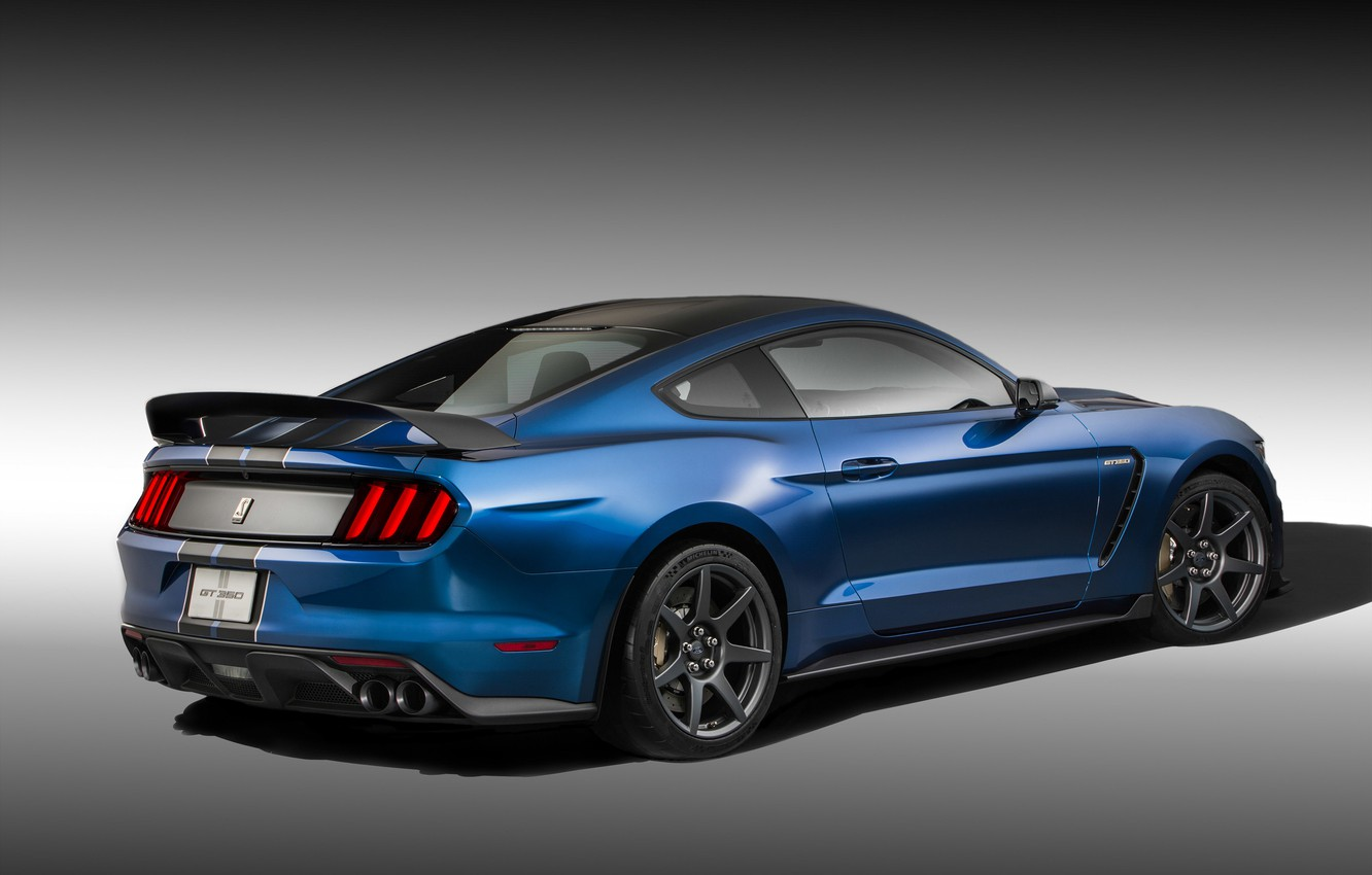 Фото обои Mustang, Ford, Shelby, Muscle, Car, Blue, Rear, 2015, GT350R