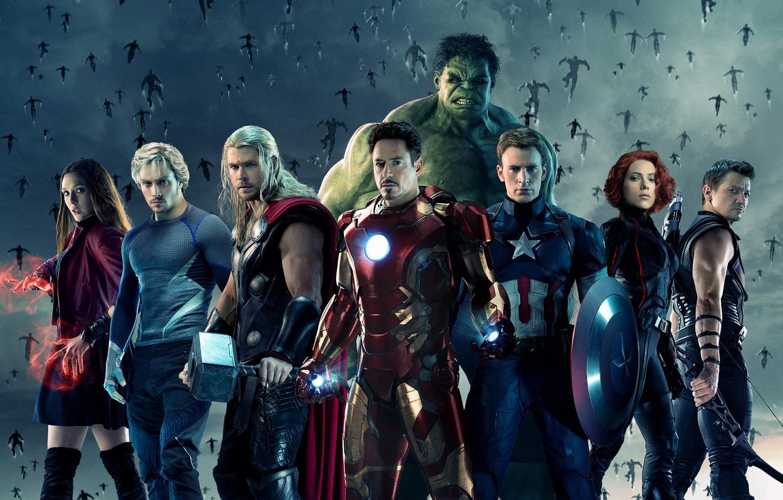 Фото обои Scarlett Johansson, Heroes, Hulk, Girls, Iron Man, The, Captain America, Team, Thor, Black Widow, Robert …