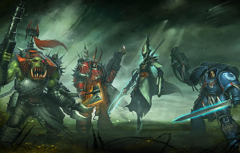 Фото обои Warhammer 40000, chaos, space marine, Warhammer 40k, eldar, космодесантники, orc, Eternal Crusade, Long War, ксеносы