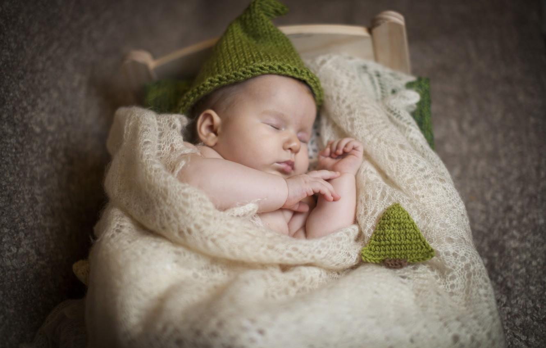 Фото обои дети, шапка, сон, малыш, спит, платок, ребёнок, младенец, кроватка