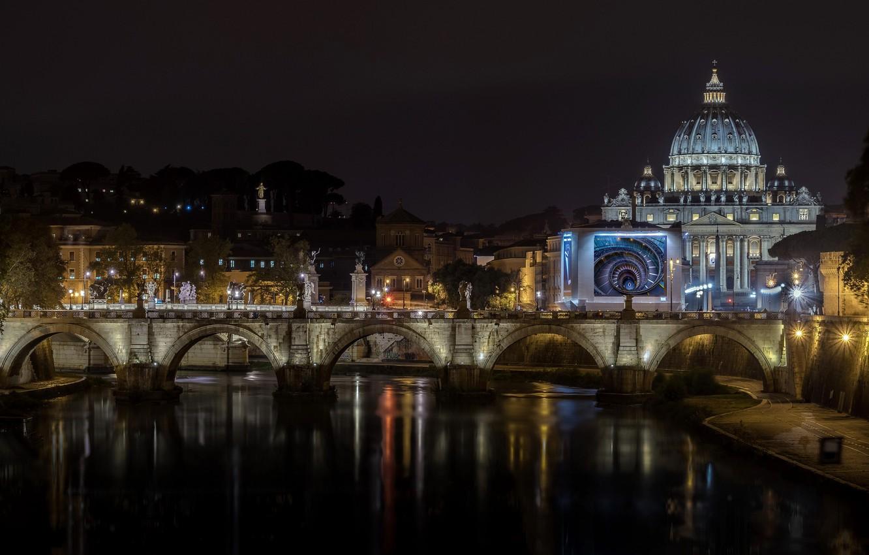 Фото обои ночь, город, Italy, Rome