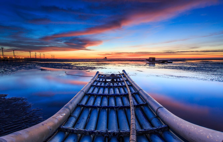 Фото обои Небо, Вода, Облака, Горизонт, Дом, Лодки, Ветряные мельницы