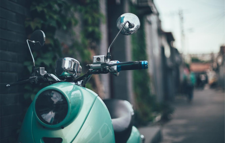 Фото обои зеленый, стиль, ретро, фара, мопед, руль, мотороллер, retro, vespa, stile, веспа
