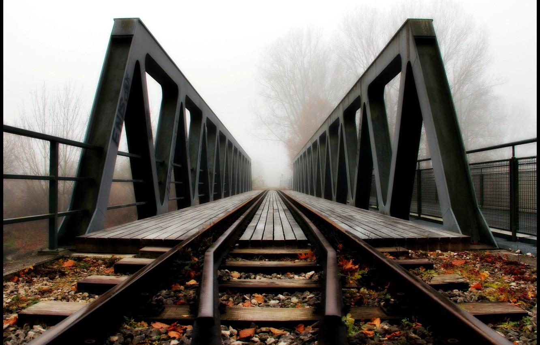 Обои железная дорога, туман, мост. Разное foto 8