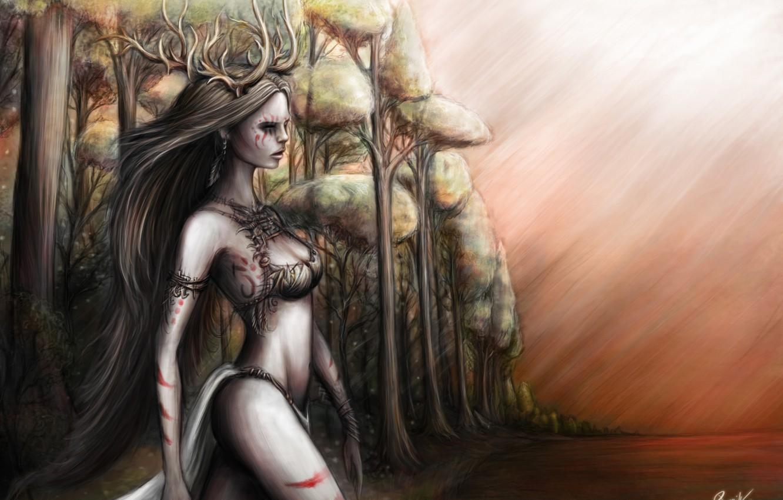 Фото обои лес, небо, взгляд, вода, девушка, деревья, рога, дриада, длинные волосы, dryad