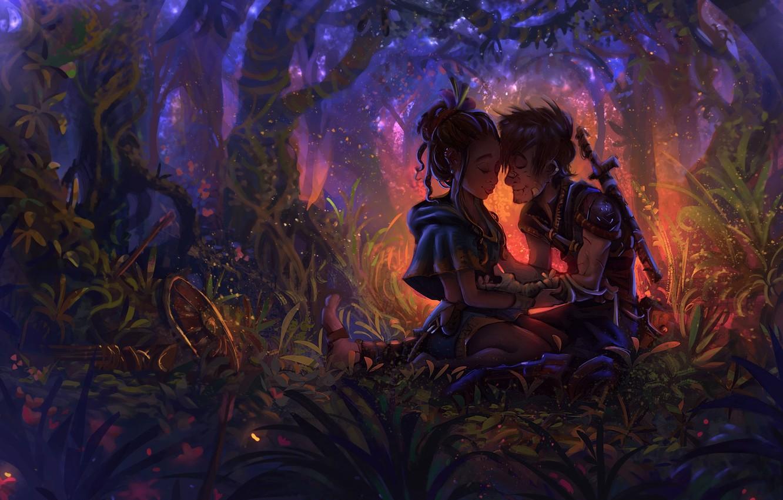 Фото обои лес, девушка, оружие, игра, воин, арт, щит, The Darkness, João Paulo Bragato