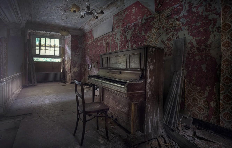 Фото обои фон, стул, пианино